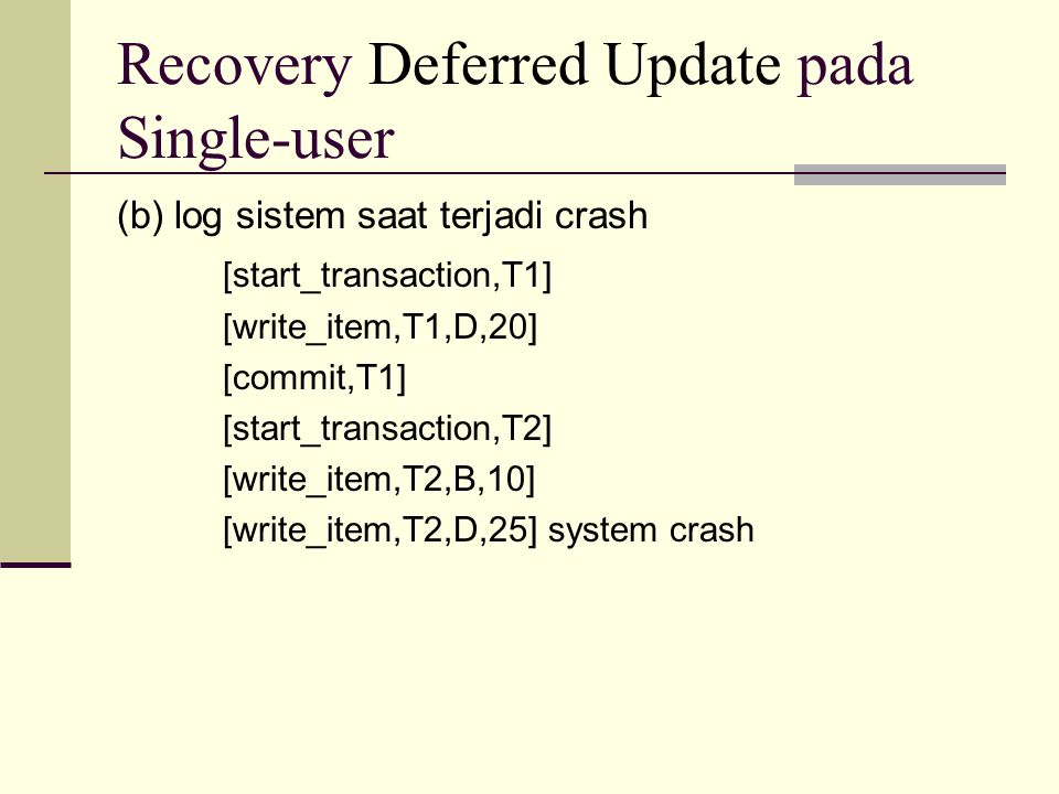 Recovery Deferred Update pada Single-user