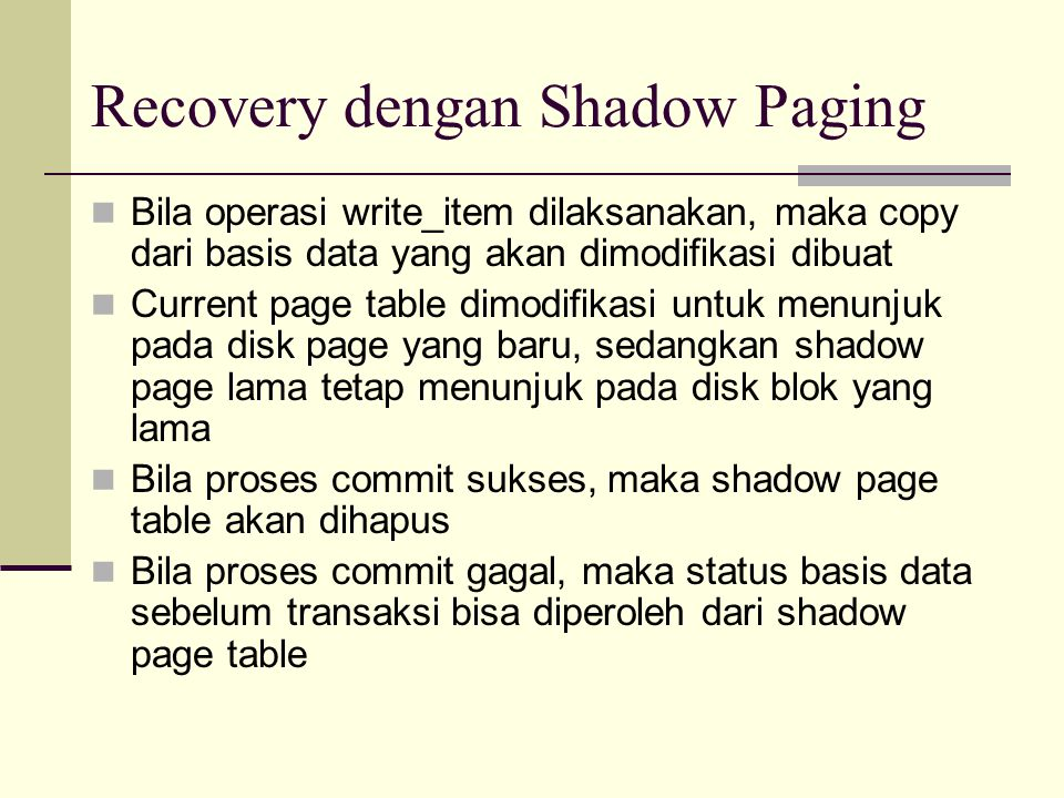Recovery dengan Shadow Paging