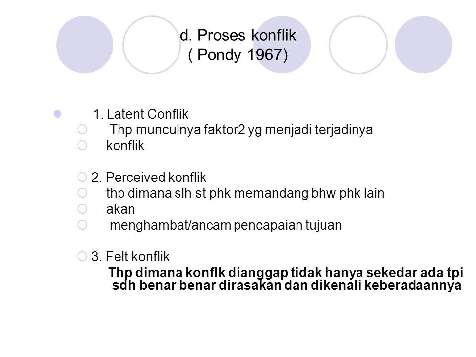 d. Proses konflik ( Pondy 1967)