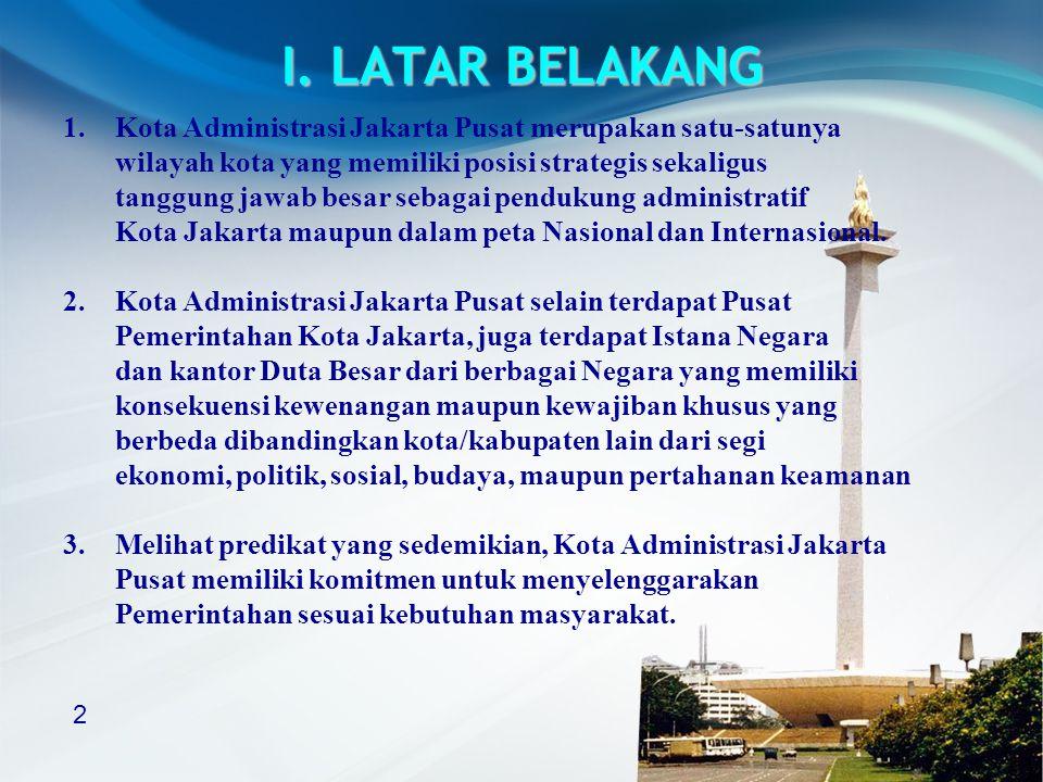 I. LATAR BELAKANG Kota Administrasi Jakarta Pusat merupakan satu-satunya. wilayah kota yang memiliki posisi strategis sekaligus.