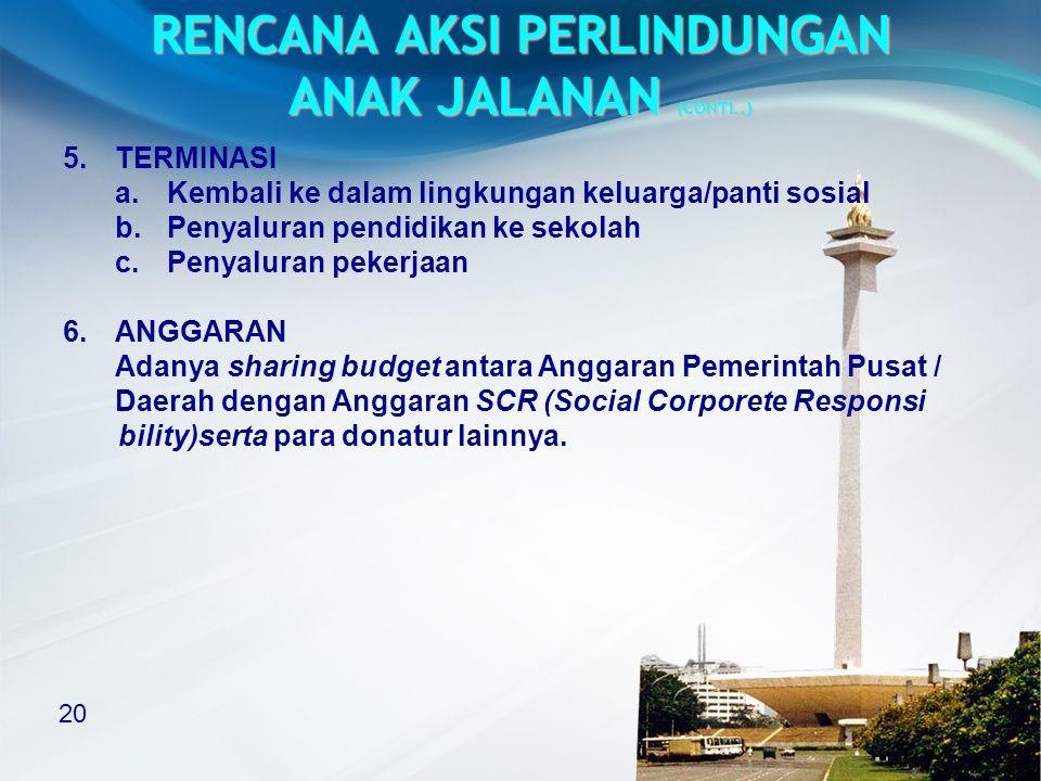 RENCANA AKSI PERLINDUNGAN ANAK JALANAN (CONTI..)