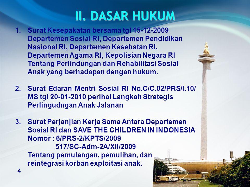 II. DASAR HUKUM 1. Surat Kesepakatan bersama tgl 15-12-2009