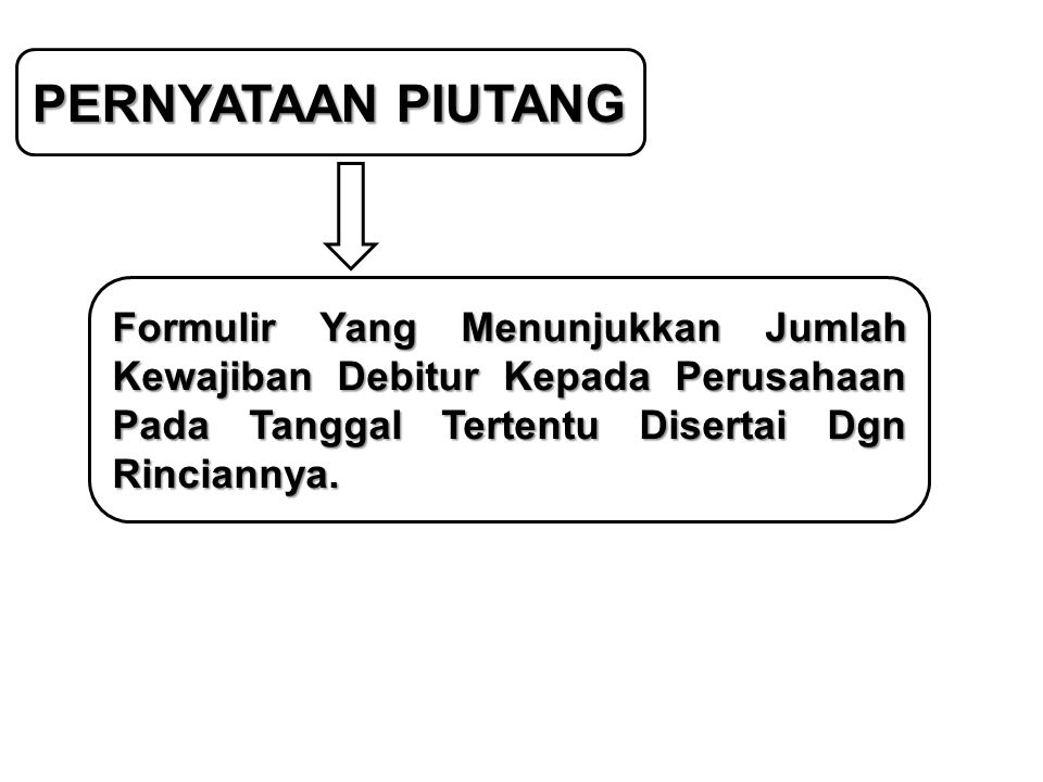 PERNYATAAN PIUTANG Formulir Yang Menunjukkan Jumlah Kewajiban Debitur Kepada Perusahaan Pada Tanggal Tertentu Disertai Dgn Rinciannya.