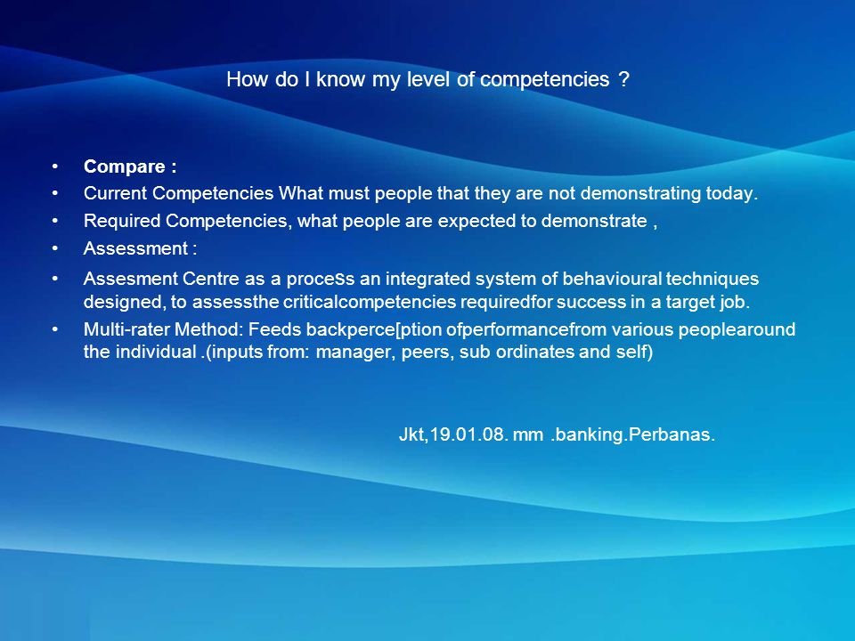 How do I know my level of competencies