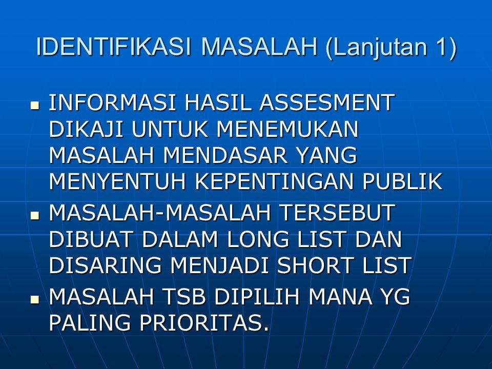 IDENTIFIKASI MASALAH (Lanjutan 1)