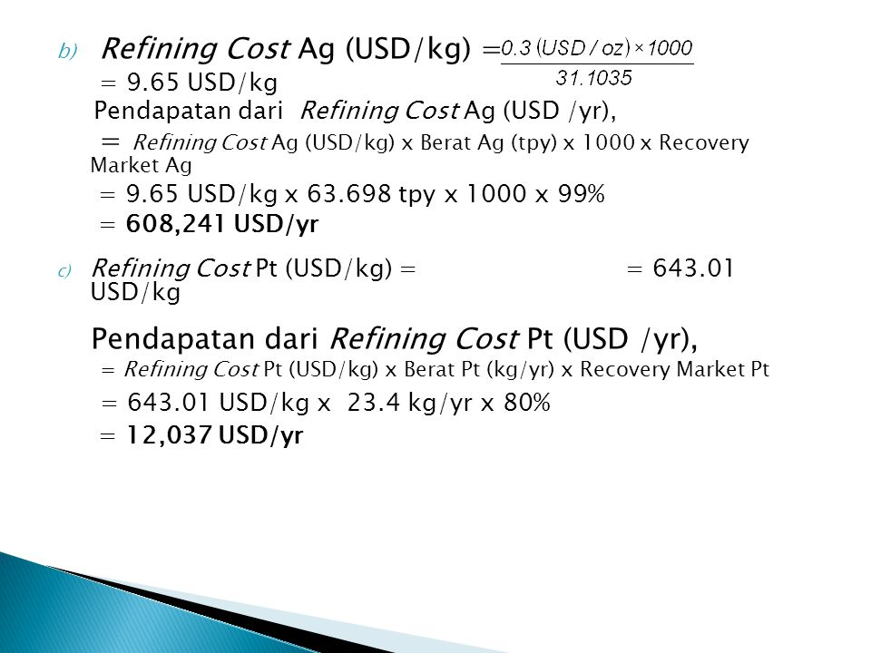 Refining Cost Ag (USD/kg) = = 9.65 USD/kg