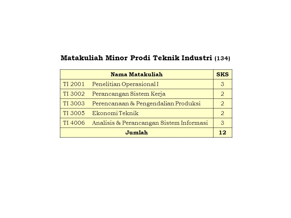 Matakuliah Minor Prodi Teknik Industri (134)