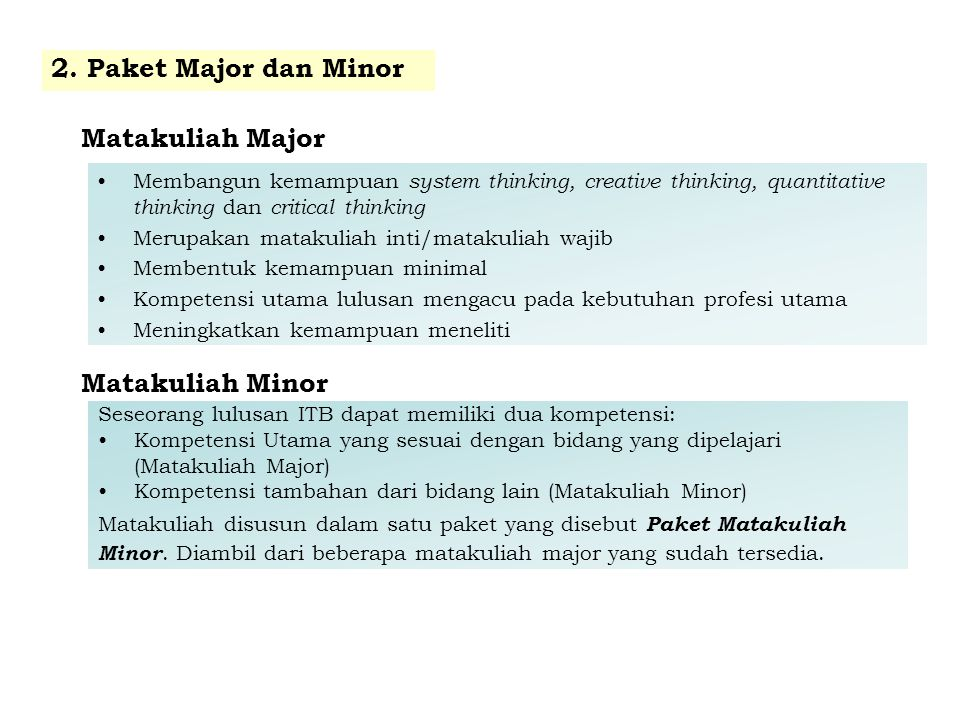 2. Paket Major dan Minor Matakuliah Major Matakuliah Minor