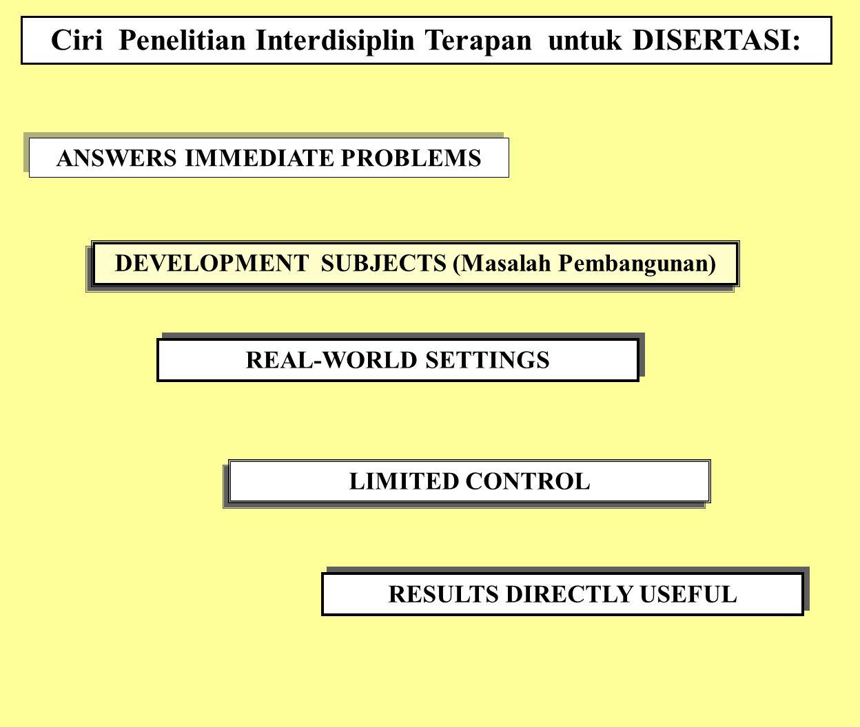 Ciri Penelitian Interdisiplin Terapan untuk DISERTASI:
