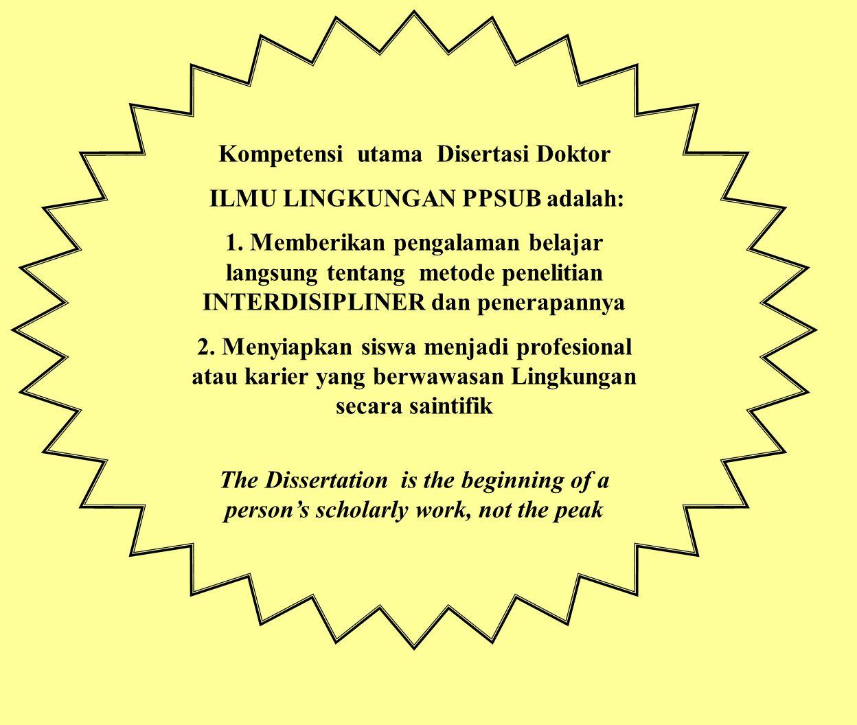 Kompetensi utama Disertasi Doktor ILMU LINGKUNGAN PPSUB adalah: