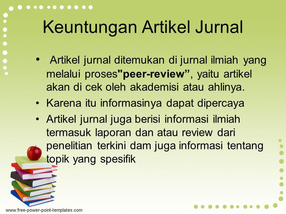 Keuntungan Artikel Jurnal