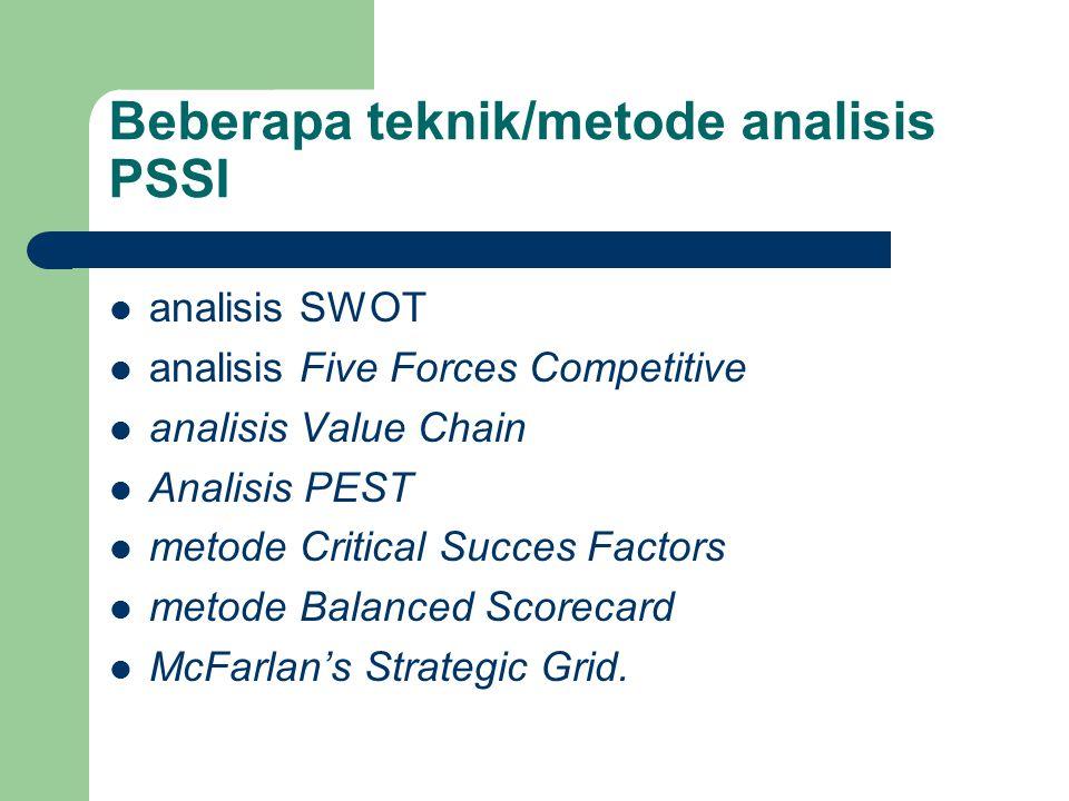 Beberapa teknik/metode analisis PSSI