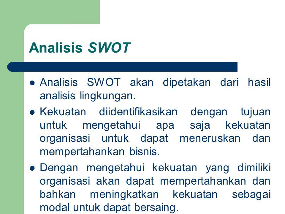 Analisis SWOT Analisis SWOT akan dipetakan dari hasil analisis lingkungan.