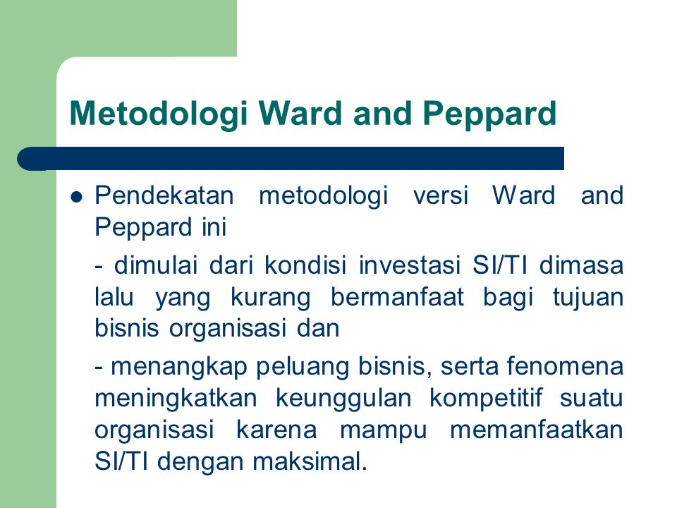 Metodologi Ward and Peppard