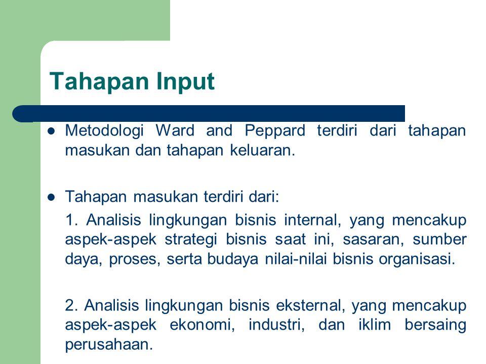Tahapan Input Metodologi Ward and Peppard terdiri dari tahapan masukan dan tahapan keluaran. Tahapan masukan terdiri dari: