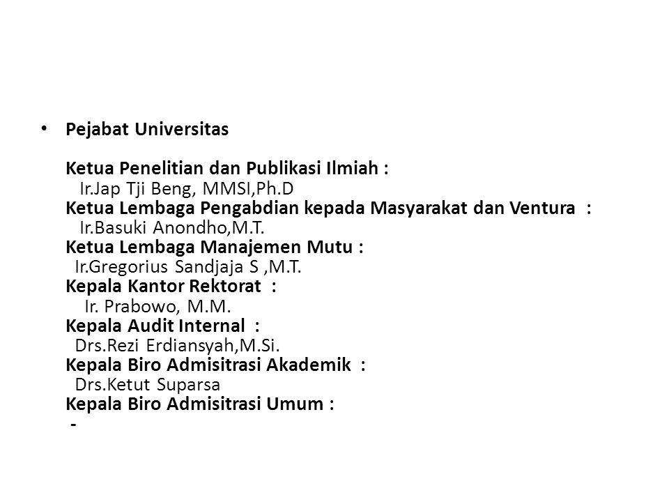 Pejabat Universitas Ketua Penelitian dan Publikasi Ilmiah : Ir