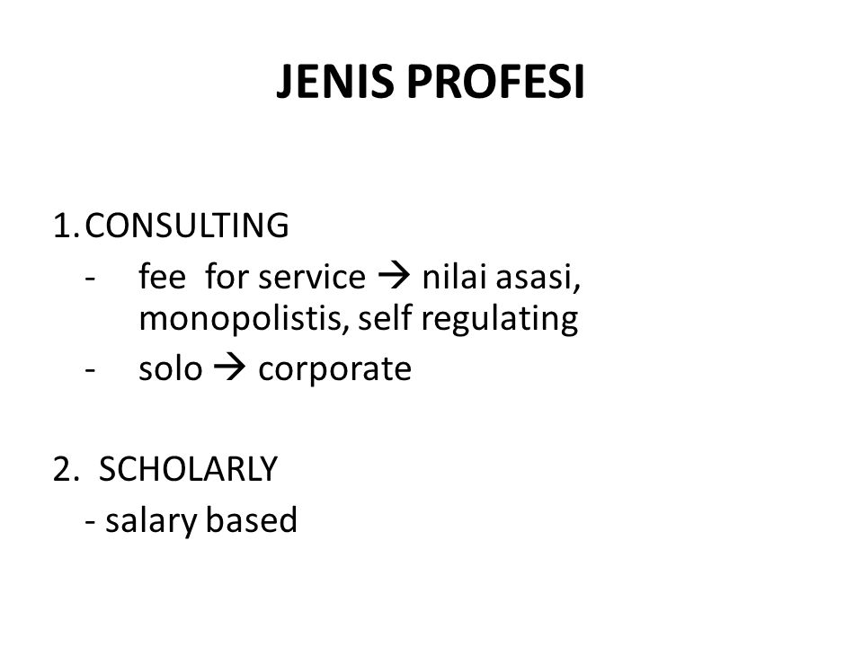 JENIS PROFESI CONSULTING