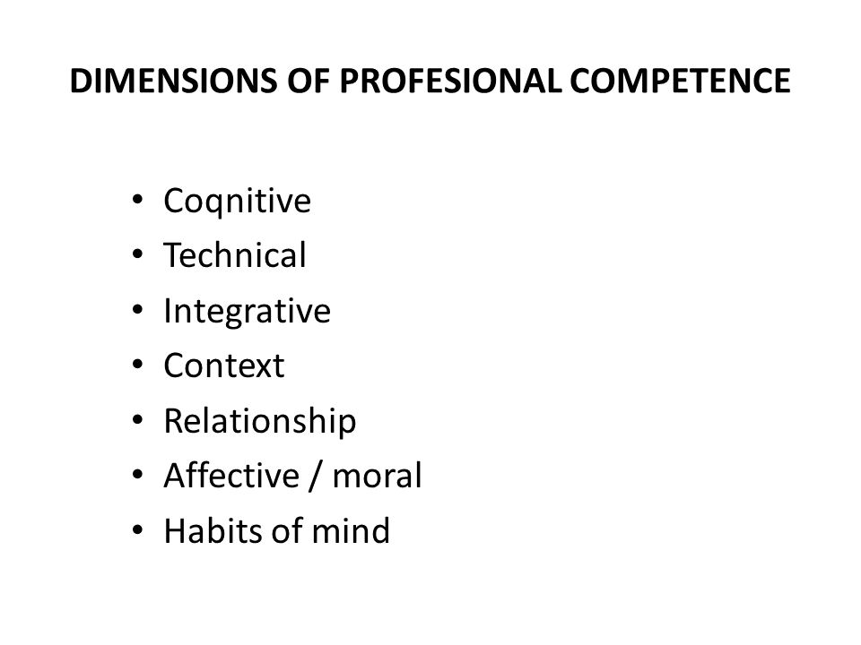 DIMENSIONS OF PROFESIONAL COMPETENCE
