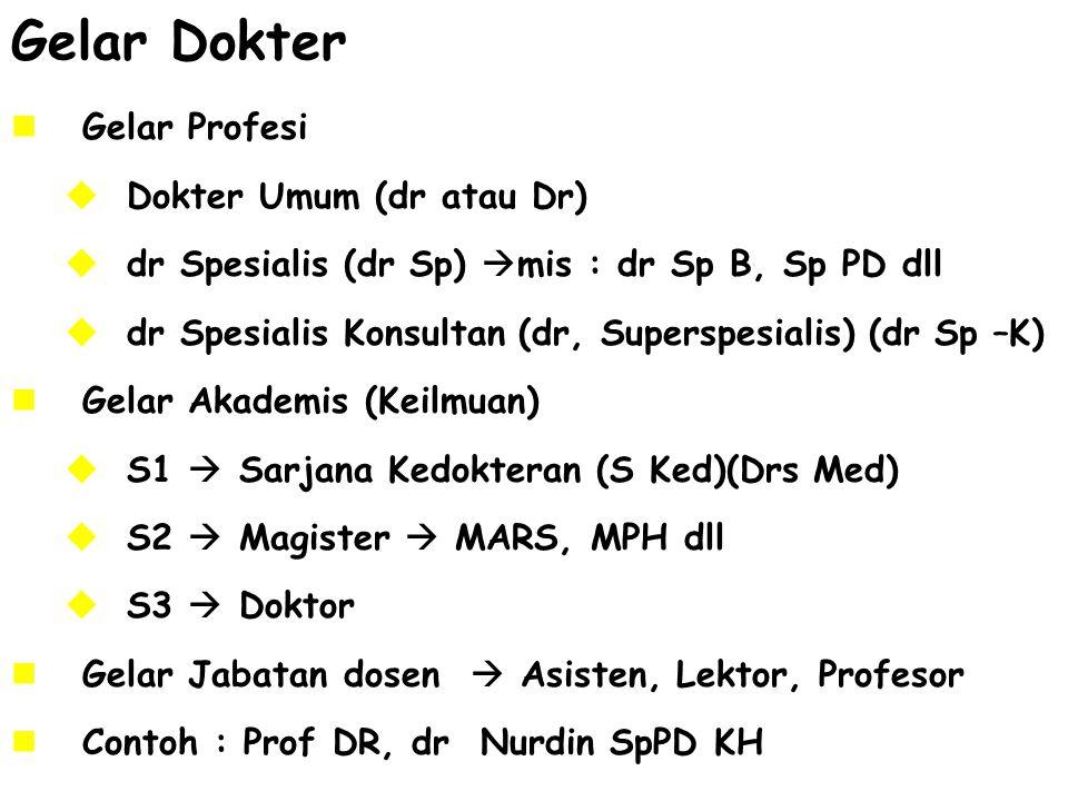 Gelar Dokter Gelar Profesi Dokter Umum (dr atau Dr)