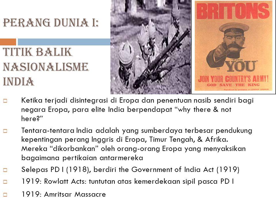 Perang dunia I: Titik balik Nasionalisme India