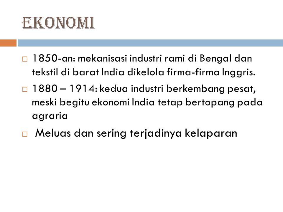 Ekonomi 1850-an: mekanisasi industri rami di Bengal dan tekstil di barat India dikelola firma-firma Inggris.