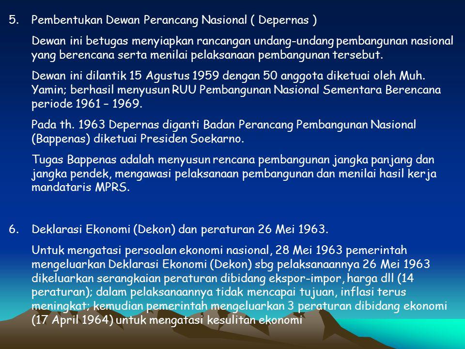 Pembentukan Dewan Perancang Nasional ( Depernas )