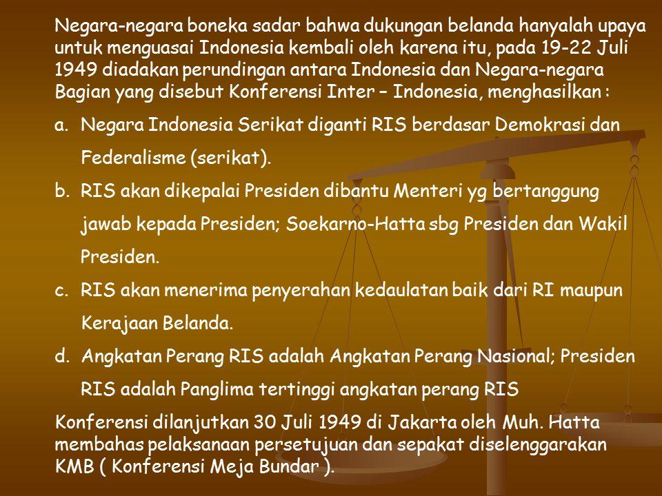 Negara-negara boneka sadar bahwa dukungan belanda hanyalah upaya untuk menguasai Indonesia kembali oleh karena itu, pada 19-22 Juli 1949 diadakan perundingan antara Indonesia dan Negara-negara Bagian yang disebut Konferensi Inter – Indonesia, menghasilkan :