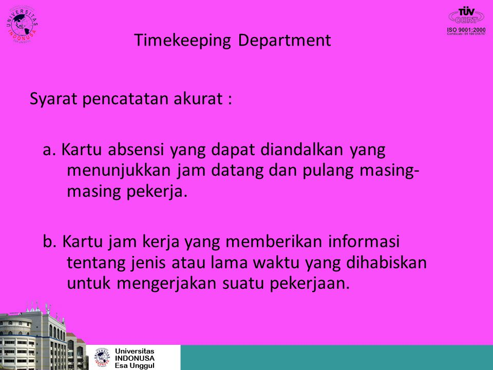 Timekeeping Department