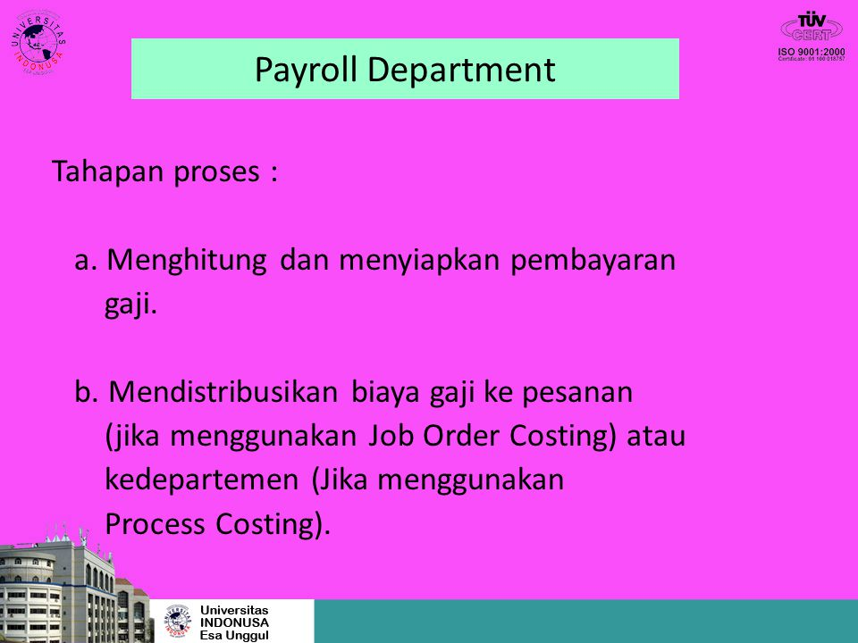 Payroll Department Tahapan proses :