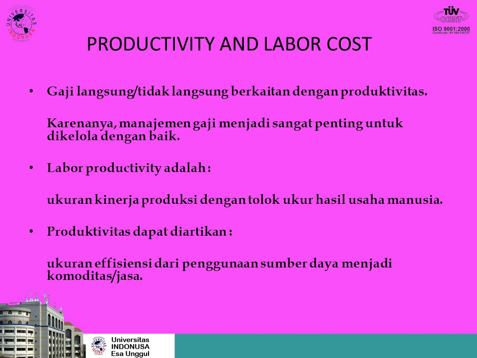 PRODUCTIVITY AND LABOR COST