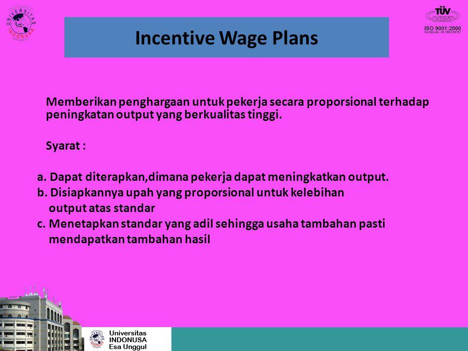 Incentive Wage Plans Memberikan penghargaan untuk pekerja secara proporsional terhadap peningkatan output yang berkualitas tinggi.