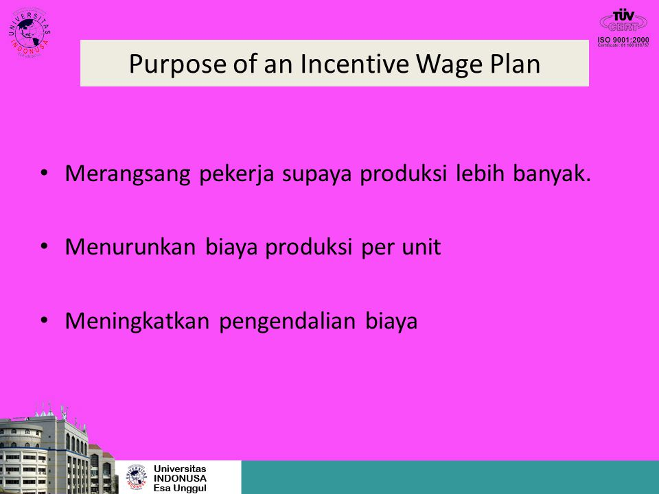 Purpose of an Incentive Wage Plan