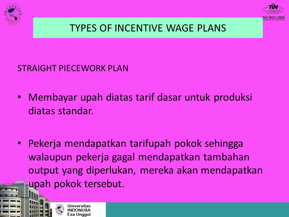 TYPES OF INCENTIVE WAGE PLANS
