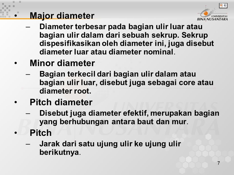 Major diameter Minor diameter Pitch diameter Pitch