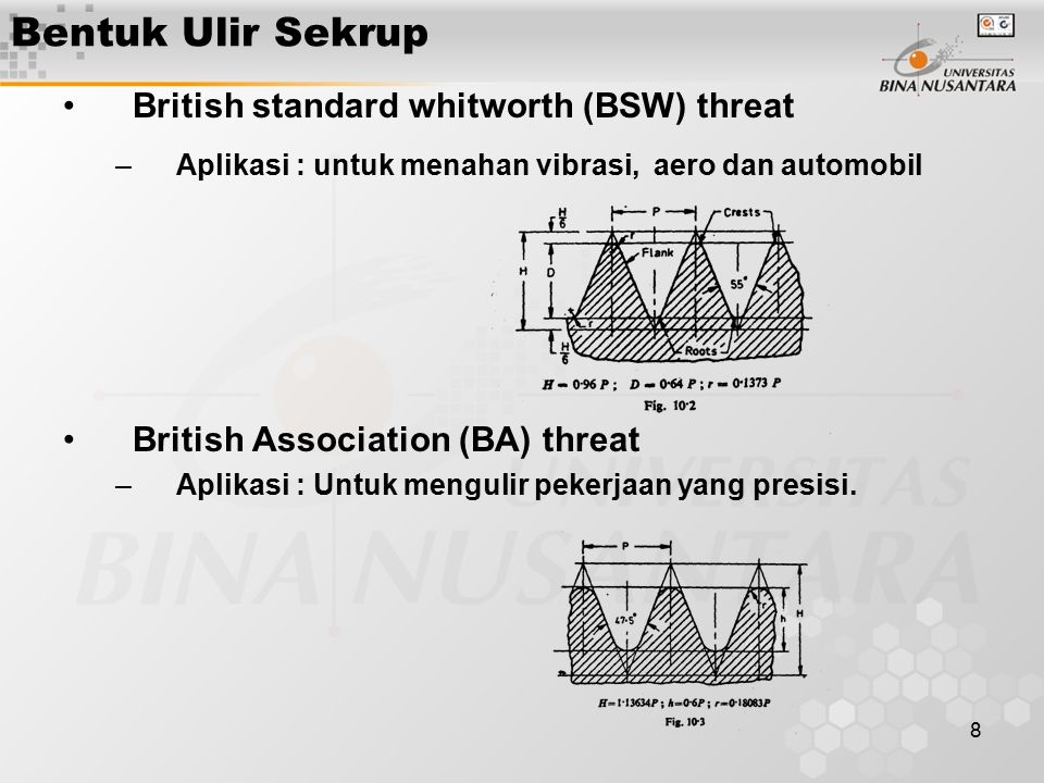 Bentuk Ulir Sekrup British standard whitworth (BSW) threat