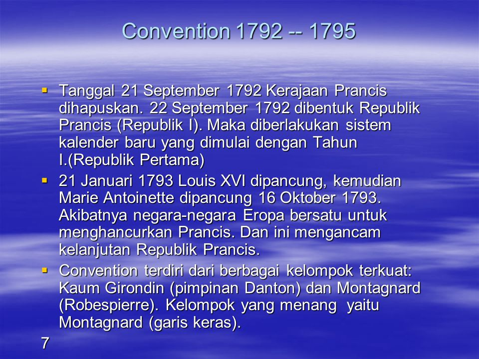 Convention 1792 -- 1795