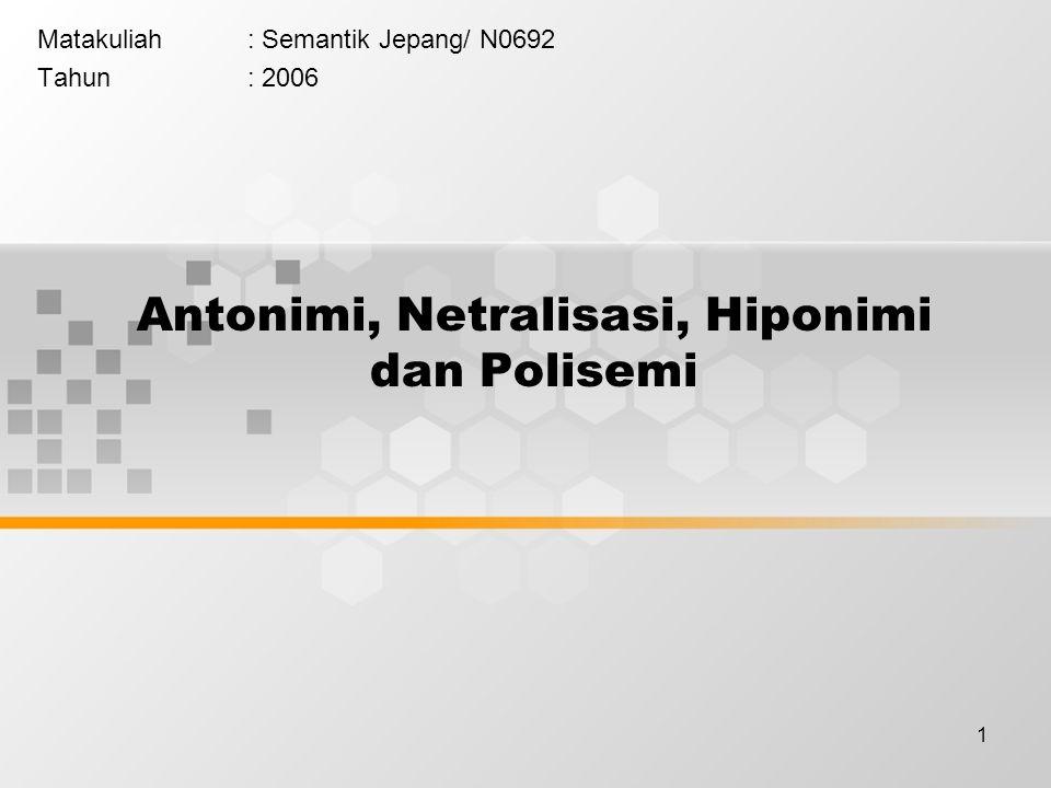 Antonimi, Netralisasi, Hiponimi dan Polisemi