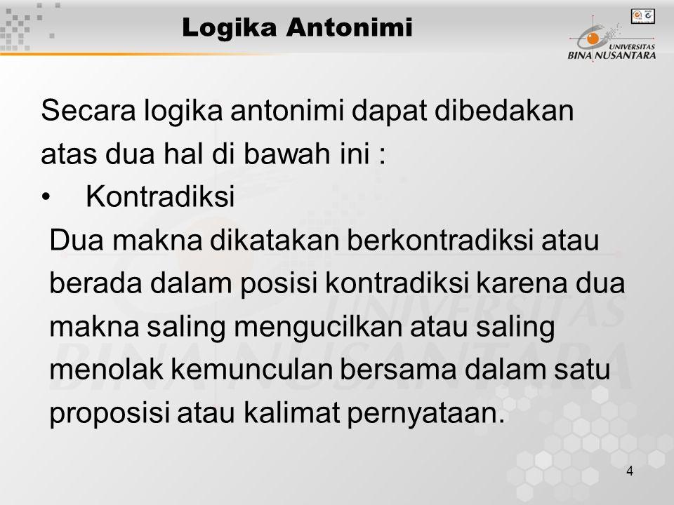 Secara logika antonimi dapat dibedakan atas dua hal di bawah ini :