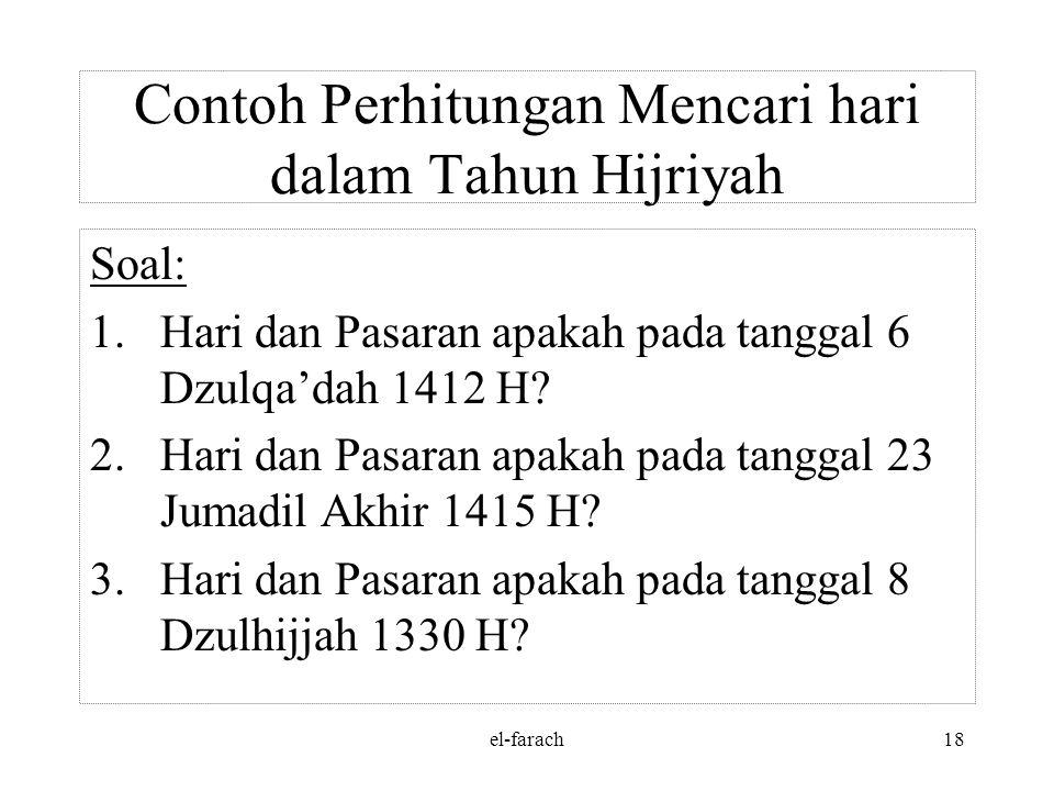 Contoh Perhitungan Mencari hari dalam Tahun Hijriyah