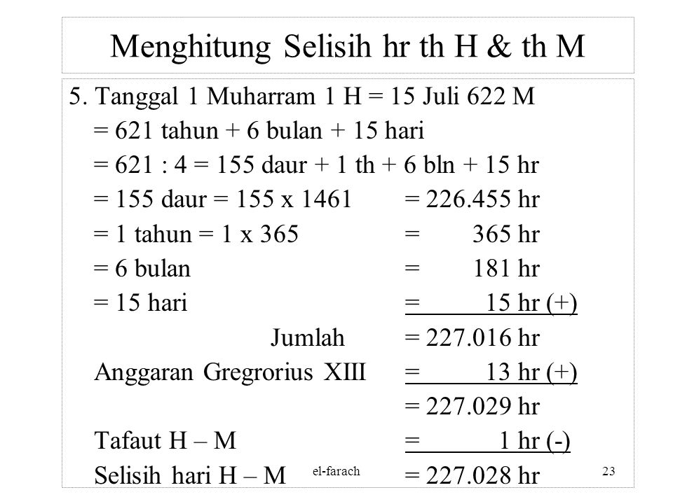 Menghitung Selisih hr th H & th M