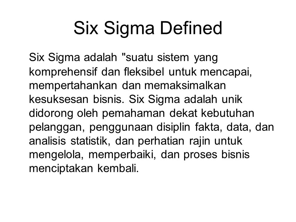 Six Sigma Defined