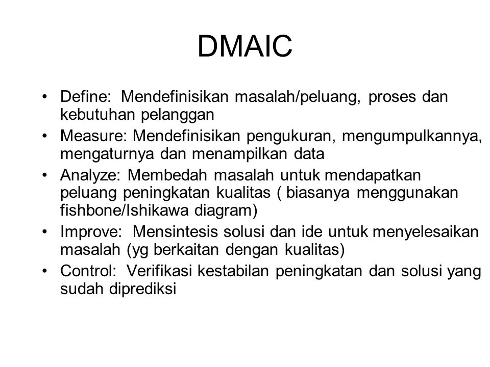 DMAIC Define: Mendefinisikan masalah/peluang, proses dan kebutuhan pelanggan.