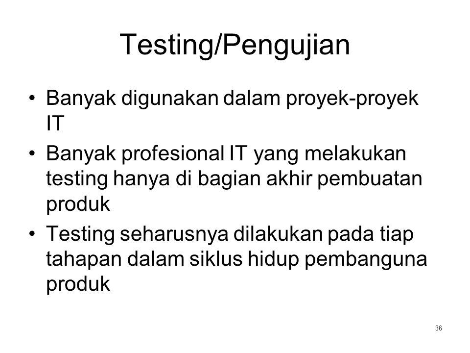 Testing/Pengujian Banyak digunakan dalam proyek-proyek IT