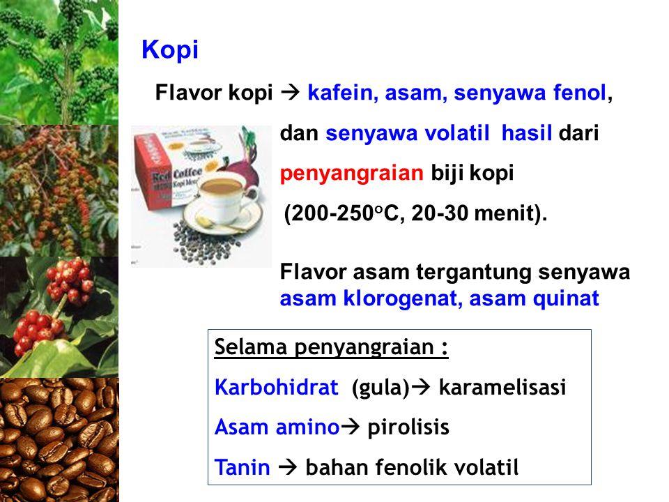 Kopi Flavor kopi  kafein, asam, senyawa fenol, dan senyawa volatil hasil dari penyangraian biji kopi.