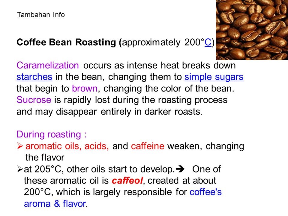Coffee Bean Roasting (approximately 200°C) :