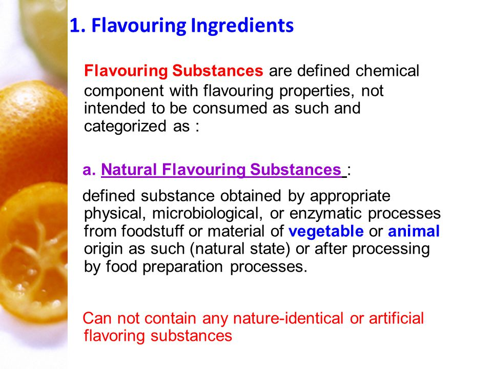 1. Flavouring Ingredients