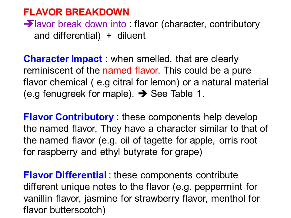 FLAVOR BREAKDOWN Flavor break down into : flavor (character, contributory. and differential) + diluent.