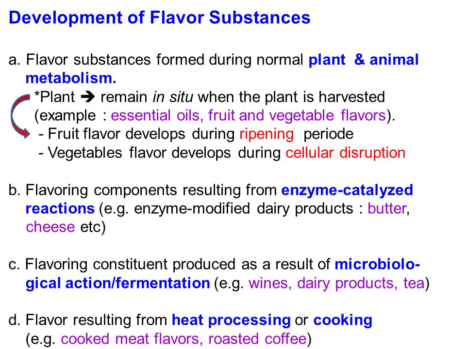 Development of Flavor Substances