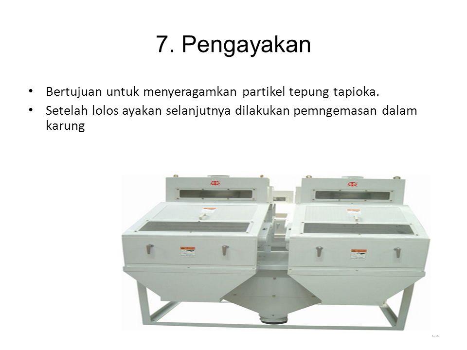 7. Pengayakan Bertujuan untuk menyeragamkan partikel tepung tapioka.