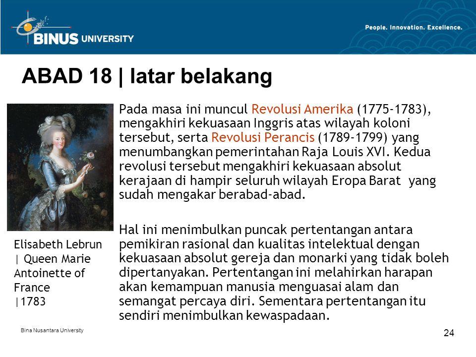 ABAD 18 | latar belakang